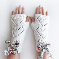 Heart Arm Warmers, Knit Fingerless Gloves, women accessories with bow
