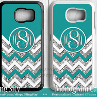 Monogram Turquoise Galaxy S6 Edge Case Sparkle Chevron S3 S4 S5 Note 2 3 4 Cover Zig Zag Personalized Skin NOT Actual Glitter Tough Custom