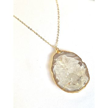 Carmel and white geode slice necklace