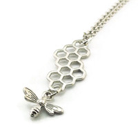 Honeycomb with Bee Necklace