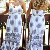 Raven Girl Off White Medallion Print Maxi Dress