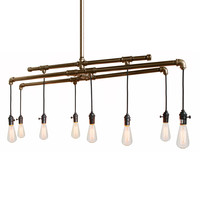 Barn Metal Bronze Industrial Custom Pipe and Cloth Cord Chandelier - 8 Light