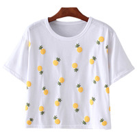 White Short Sleeve Pineapples Pattern T-shirt