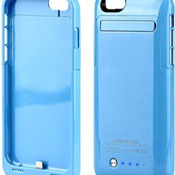 """KEEDA® iPhone 6 Battery Case,For iPhone 6 4.7"""" 3500mAh External Battery Case Charger Portable Charger Battery Back Up Power Bank Rechargeable Power Case with Stand - Blue"""