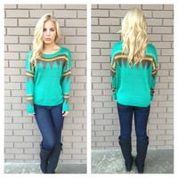 Emerald & Brown Knit Sweater