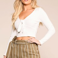 Tied Up White Long Sleeve Crop Top
