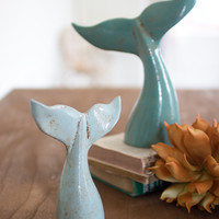 Set of 2 Ceramic Whale Tails