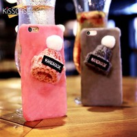 KISSCASE Christmas Hat Phone Case For iPhone 7 7 Plus Case Cute Christmas Girly Gift Cover For iPhone 5 5s iPhone 6 6S Plus