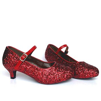 Red Glitter Girls Heels, Crimson Flower Girl Shoes