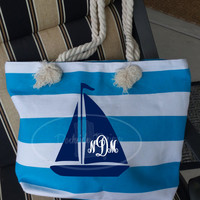 Sailboat beach tote, monogrammed for you!