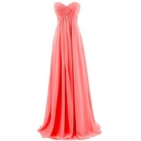 Dresstells Sweetheart Bridesmaid Chiffon Prom Dresses Long Evening Gowns for Juniors Size 2 Red