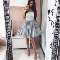 Grey Sleeveless Tulle Short Homecoming Dresses with Applique