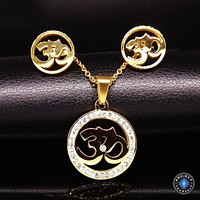 Crystal Studded Stainless Steel Om Earrings and Necklace Jewelry Set