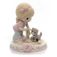 Precious Moments AGE 7 GROWING IN GRACE Porcelain Kitten Toys Blonde 154034