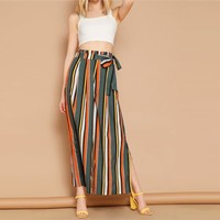 Boho Multicolor Self Belted Split Side Colorful Striped Palazzo Pants Trousers Women High Waist Long Pants For