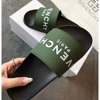 GIVENCHY PARIS Men's and Women's Tide Brand Fashion Comfort Loose Slipper Sandals F green/black