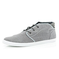 River Island MensGrey chambray lace up low rise boots