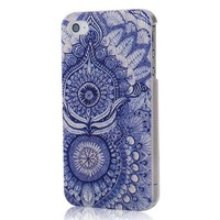 MOLLYCOOCLE Multi-style Painted Series PC Case Blue Skin Totem Flower Pattern Skin Cover Shell for iPhone 4 4S 4G