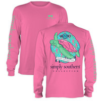 Simply Southern Preppy Sea Turtle Seahorse Pink Long Sleeve T-Shirt
