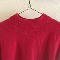 Red Mock Neck Sweater Vintage XL