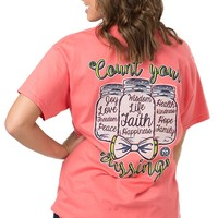 Girlie Girl Originals Women's Coral Count Your Blessings Short Sleeve Tee