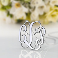 Monogram necklace CLS style--1.25 inch monogram jewelry 925 sterling silver