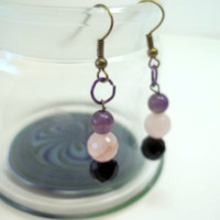 Jewelry, Beaded Earrings with Natural Stones, Princess Tunacorn Jewelry, Ready to Ship
