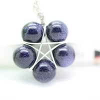 Star necklace, gemstone necklace, cosmic necklace, blue sand stone necklace, unique gift.