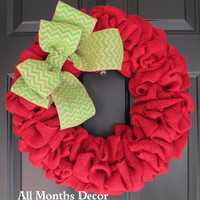 Apple Themed Red Burlap Wreath with Lime Green Chevron Burlap Bow, Teacher, Easter, Spring, Door, St Patricks Day, Porch, School Classroom