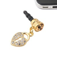 Gold Plated Crystal Lock Charm iPhone Jack Anti Dust Plug Cover Stopper