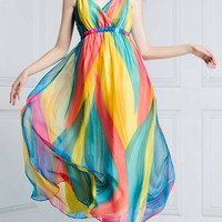 Multi Colored Wrap V-Neck Sleeveless Bohemian Dress