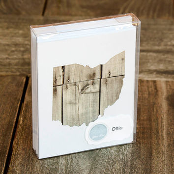 Ohio or any US state shape map cutout wood texture photography blank note cards. Box/12. Die cut, Thank You, Country Chic, Rustic