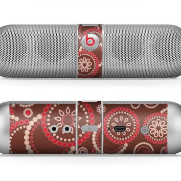 The Red & Brown Creative Flower Pattern Skin for the Beats by Dre Pill Bluetooth Speaker