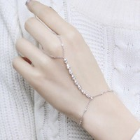 MIGGA 2017 Cubic Zirconia Water Drop Round CZ Crystal Bracelet Slave Chain Link Connected Finger Women Jewelry