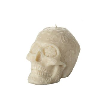 Skull Floral Ivory Candle