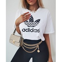 LV Louis Vuiton Adidas Joint name Trending Women Man Letters Simple Print Tee Shirt Top