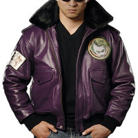 Batman Dark Knight Joker Goon Leather Bomber Jacket