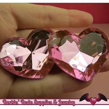 42mm HUGE HEART GEMS Pink Acrylic Faceted Rhinestones
