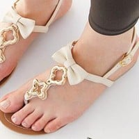 Beige Bow Sandals from Gbean