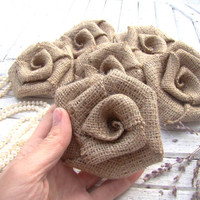 Set of 6 Large Burlap Roses Rustic Wedding Decor Hessian Fabric Rosettes Bridal Wedding Party Decor Wedding Bouquet