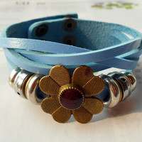 Spring gift Bronze Flower Charm and Metal Ring Cute Light Blue Soft woven Leather Metal Buckle Bracelet Fashion bangle Leather Cuff  C-42