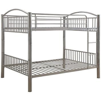 "Full Bunk Beds - 78"" X 56"" X 67"" Silver Metal Full Over Full Bunk Bed"