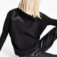 RI Studio black embellished snake print top - Sweaters - Knitwear - women