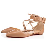 Christian Louboutin Cl Suzanna Flat Nude Leather Flats 3170604pk1a -