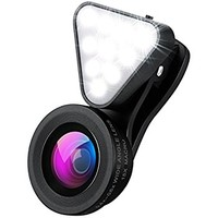 AMIR Phone Camera Lens, Rechargeable Selfie 10 LED Camera Light, 15X Macro Lens & 0.4X-0.6X Wide Angle Lens, 3 Adjustable Fill Light, On-Camera Video Light for iPhone, Samsung, Smartphones