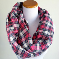 Red Plaid Flannel Infinity scarf, Flannel Plaid winter scarf