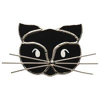 Stained Glass Black Cat Pin