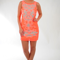 Ark & Co: Come Around Soon Dress: Neon Coral