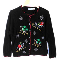 Furry Blingy Sleighs Tacky Ugly Christmas Sweater