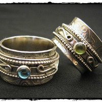 Spinner Ring with Gem Stones Harmony Bead by KBerlinMetalsmith